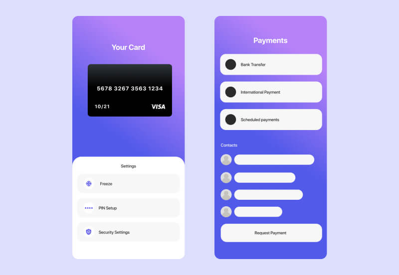 Example of banking app screens